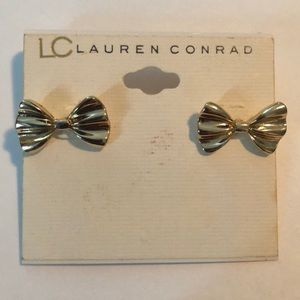 Gold bow earrings. LC Lauren Conrad